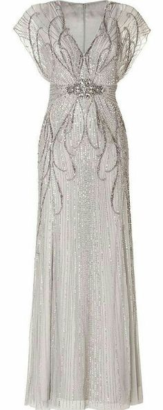 Jenny Packham Sequin Embellished Gown in Platinum . Jenny Packham Sequin Embellished Gown in Platinum . Vintage Dresses, Vintage Outfits, Vintage Fashion, Beautiful Gowns, Beautiful Outfits, Gorgeous Dress, Embellished Gown, Beaded Gown, Sequin Gown