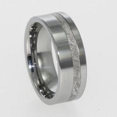 Meteorite Offset Inlaid in Titanium Ring-Mens by jewelrybyjohan