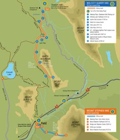 Map of guided hikes to the Burgess Shale in Yoho National Park