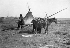 First Nations camp near first Hudson's Bay Company store at Fort Calgary, Alberta. 1886
