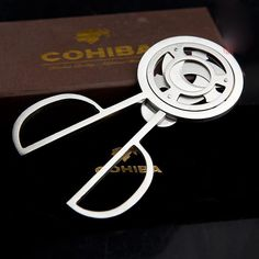 TRIPLE BLADES STAINLESS STEEL SILVER TONE CIGAR CUTTER