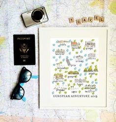Custom Map Print por EvelynHenson en Etsy