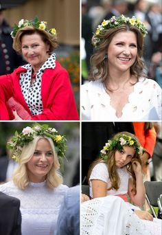 Norwegian Royal Ladies attend a garden party during the Royal Silver Jubilee Tour on June 23, 2016 in Trondheim, Norway with flowers in their head.