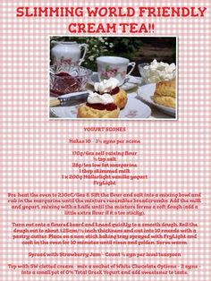 Slimming World friendly cream tea Slimming World Deserts, Slimming World Puddings, Slimming World Tips, Slimming Word, Slimming World Recipes, Sw Meals, Get Thin, Gateaux Cake, Cream Tea