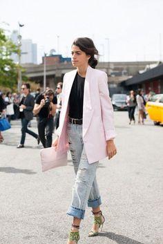 Leandra Medine with pink blazer