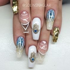 India inspired bling nails