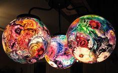 Lámpara de vidrio reciclado