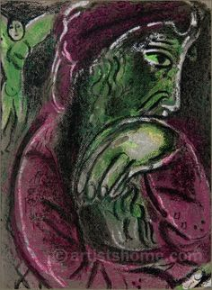 Marc Chagall Lithographs | Marc Chagall: Job in Despair, Illustrations for The Bible, Lithograph ..