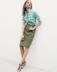 JUN '15 Style Guide: J.Crew women's boy shirt in green crinkle plaid, linen cargo pencil skirt, woven fringe earrings and Sophia Webster™ for J.Crew Yaya heels.