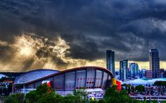 Scotiabank Saddledome in Calgary, Alberta, Canada (Jim Boud, photographer) Hockey Stuff, Hockey Teams, Hockey Players, Flames Hockey, Ice Hockey, Places Ive Been, Places To Go, Sports Stadium, Western Canada