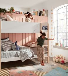 Land of Nod has come home to Crate & Barrel. Crate and Kids is a new destination for high quality baby and kids furniture and decor. Available in stores. Cool Kids Rooms, Modern Kids Rooms, Two Twin Beds, Kids Bunk Beds, Shared Rooms, Bed Reviews, Pastel, Palette, Kids Room Design