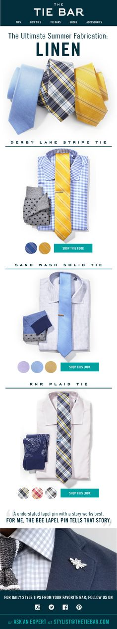 Three work-appropriate ways to wear linen. Shirts ($55) and ties ($19) at www.TheTieBar.com