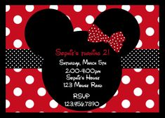 red minnie mouse baby shower invitations | ... Invitations, Girls Mouse Party, Birthday Invitation, 1st Birthday