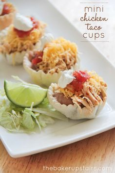 Mini chicken taco cups from The Baker Upstairs. So easy to throw together, and so delicious! Perfect for parties! http://www.thebakerupstairs.com