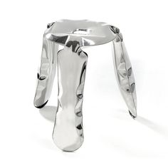 Plopp Inflated Metal Stool, Polished Steel - Seating - Home + Living