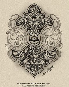 Gravure Metal, Filigree Tattoo, Framed Tattoo, Metal Engraving, Ornaments Design, Scroll Design, Creative Tattoos, Stained Glass Patterns, Antique Art
