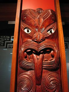 Maori carving inside Auckland Central City Library