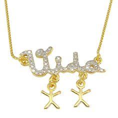 Gargantilha banhada em ouro 18K. com zirconias