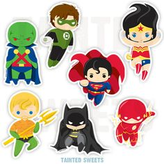 Chibi Justice League Stickers! Choose your favorite hero or get the complete set! Printed on high quality vinyl with permanent adhesive, glossy laminate and UV-resistant ink that can withstand outdoor use without fading for many years! Flash - 3.5x3.5 Green Lantern - 3x4.75 Martian Manhunter - 3x4.75 Wonder Woman - 3x5.75 Superman - 4.25x4.25 Batman - 4.25x5 Aquaman - 4x4.75 Illustration by Tainted Sweets LTD. Characters owned by DC Comics.