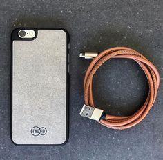 Charge your concrete iPhone with leather #new #iphonecase #apple #fashion #style #handmade