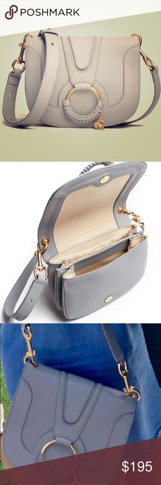 """See By Chloe Sky Blue Hana Shoulder Bag Leather shoulder bag by See By Chloe. Magnetic closure. 2""""x7""""x9"""". Strap extends between 14-20"""" in length. Wear can be seen on edges. See By Chloe Bags Shoulder Bags"""