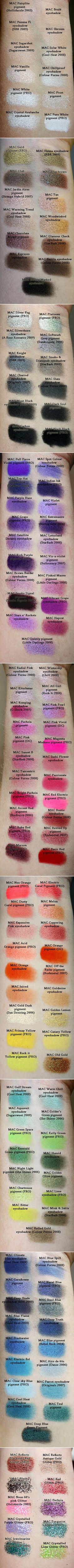 MAC EYESHADOW :: A large selection of MAC shadow swatches from neutrals to brights to glitters...