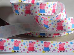 """Peppa Pig Grosgrain Ribbon 5 yards of 7/8"""" Polka Dot Print White Ribbon with Pastel Dots For Hair Bows Birthday Party Favor Ties Pig Ribbon by HouseofHairDecor on Etsy"""
