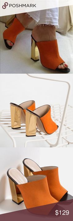 Leather Mule Sandals Genuine orange Suede with a sophisticated gold chunky heel! Love these but I have never worn them and they need to go  no box but it comes with dust cover. Never been worn, only tried on. US 8 EU 39 Zara Shoes Mules & Clogs