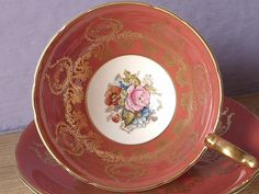 Antique Aynsley pedestal tea cup set JA Bailey by ShoponSherman, $129.00