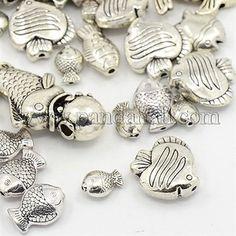 Antique Silver Mixed Fish Tibetan Style Alloy BeadsTIBEB-MSMC008-10AS-1