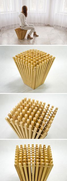 Wood Chair Hedgehog Spines Were The Inspiration For This New Stool Design Wooden Furniture, Cool Furniture, Furniture Design, Deco Design, Wood Design, Design Design, Design Model, Stool Chair, Chaise Chair