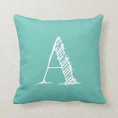 Turquoise Initial Monogram Throw Pillow