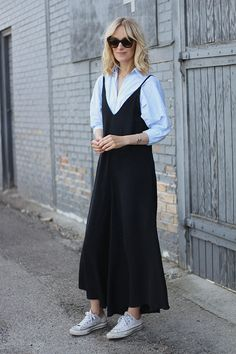 Get ready for Fall 2017. Style yourself with shirt and silk slip dress.  Similar style available at SiiZU.