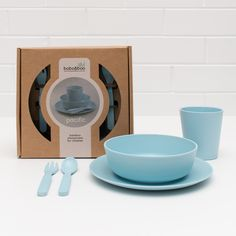 Bobo&boo Bamboo Dinnerware Set For Children Pacific Blue - Biodegradable 5 Piece Set
