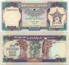 Ghana  500 Cedis 10.6.1994 (cacao trees, miner)