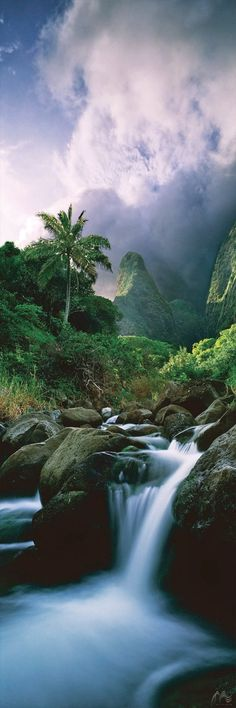 """""""Iao Valley"""", Wailuku, Maui, Hawaii (available at Jeff Mitchum Galleries) ~ Click through the large version for a full-screen view with a black background (set your computer for full-screen). ~ Miks' Pics """"Nature Scenes lV"""" board @ http://www.pinterest.com/msmgish/nature- scenes-lv/"""