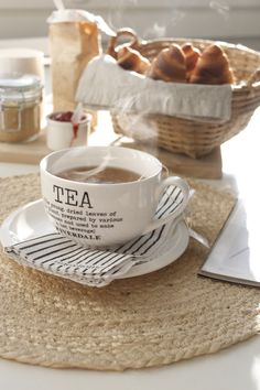 Fresh croissants and a cup of hot tea. What more could you want?