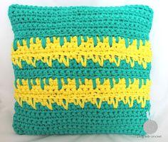 Lady with crochet: Turkusowo-żółta poduszka / Crochet pillow / Cotton yarn