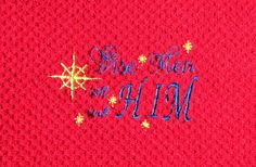 Embroidered Christmas design kitchen towel Wise by LuvHooURDesigns