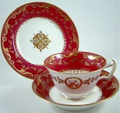 ANTIQUE MINTON CHINA CABINET TRIO - TEA CUP, SAUCER & SIDE PLATE C.1912