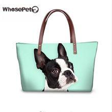WHOSEPET Corgi Shoulder Bags for Women Cute Handbags Animal Printing Lady Tote Boston Terrier Top-handle Bags Beach Totes Hobo(China)
