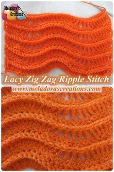 Lacy Zig Zag Ripple Stitch – Free Crochet Pattern & video tutorials. - by Meladora's Creations ✿⊱╮Teresa Restegui http://www.pinterest.com/teretegui/✿⊱╮