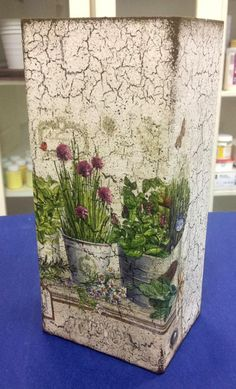 Decoupaged Glass Vase. Creator unknown.