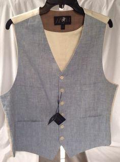 Hart Schaffner Marx HSM Blue Natural Linen Vest XL Free USA SHIP $125 | eBay