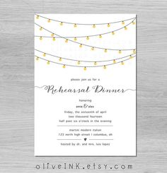Tea *twinkle light rustic wedding rehearsal invitation {{ barn wedding, casual rehearsal dinner, outdoor wedding, tea light birthday party, holiday party }}