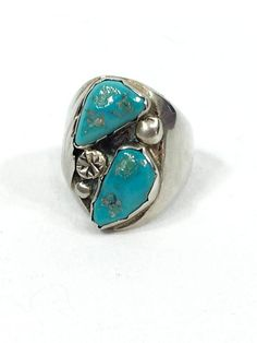 Navajo Turquoise Ring Sterling Silver Feather Motif Mens