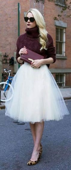 Edie Blair of Atlantic Pacific. I can't think of any time I could ever wear a tutu with a turtle neck, but I love it