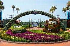 Epcot Internation Flower and Garden Festival 2011 Disney Pixar Cars 2 Topiary. looks adorable. please like and share it to your timeline & friends: http://pinterest.com/travelfoxcom/pins/