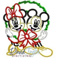 1 dollar on our website Mickey and Minnie in Holiday Wreath - Embroidery Machine Desig -Applique-Ins Disney Diy, Disney Cruise, Disney Ideas, Machine Embroidery Applique, Embroidery Fonts, Disney Christmas, Christmas Crafts, Christmas Things, Disney Patches