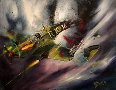 HUBBARD WW2 RAF FIGHER ACE BADER TO THE LAST BULLET OIL PAINTING BLACKSUN13R
